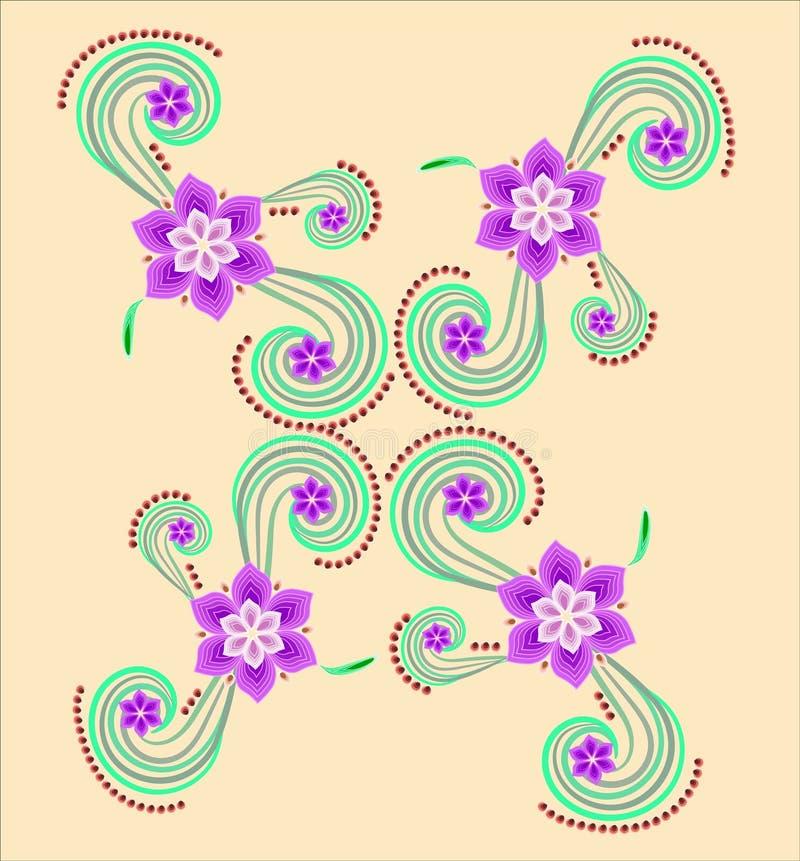 美好的花卉样式 美好的复杂地弯曲的图的图象以花、背景和样式的形式 库存例证