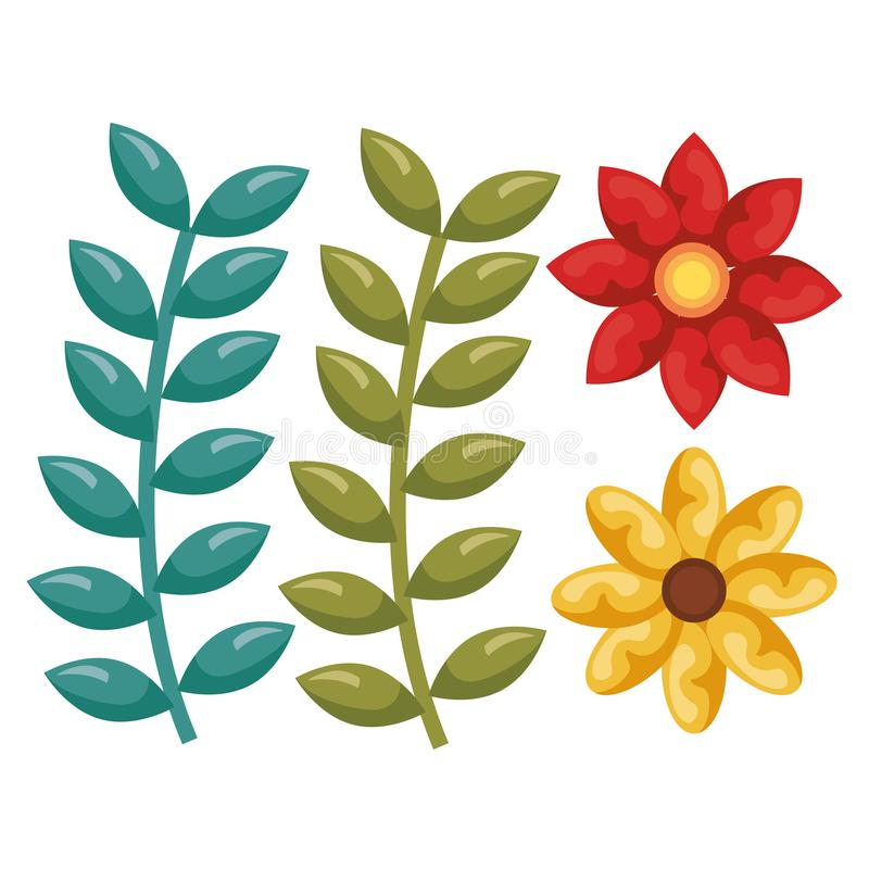 美好的花卉装饰象 向量例证
