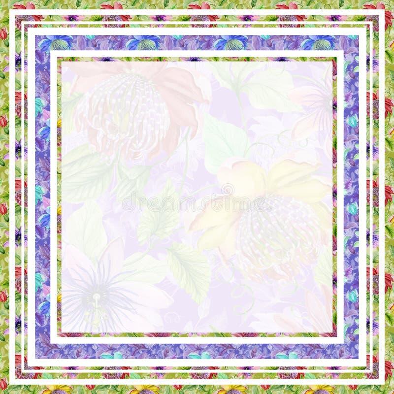 美好的花卉边界由明亮的西番莲制成开花 与空间的方形的框架文本的在中部 多孔黏土更正高绘画photoshop非常质量扫描水彩 向量例证