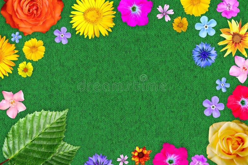 美好的花框架以空在绿色羊毛布料背景的中心 春天或夏天花的花卉构成 免版税库存图片