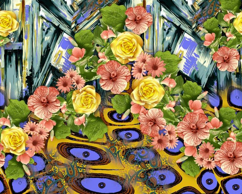 美好的花背景样式 向量例证