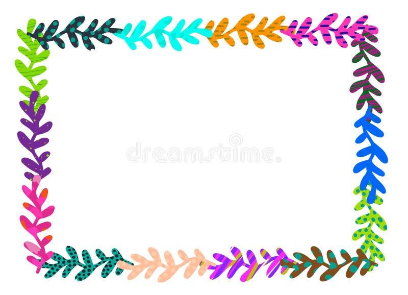 美好的草本框架 手拉的织地不很细例证 彩虹颜色 库存例证