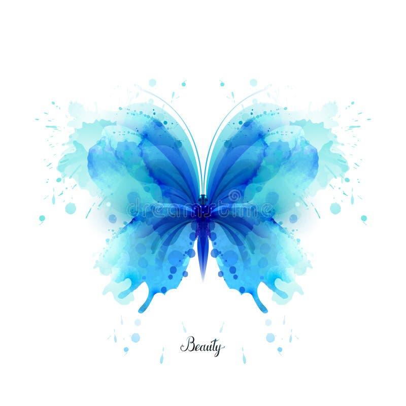 美好的蓝色在白色背景的水彩摘要透亮蝴蝶 皇族释放例证