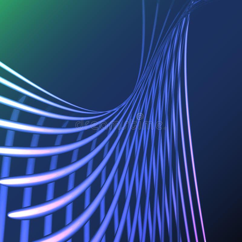 美好的蓝色抽象不可思议的能量电螺旋扭转了从线,小条,棍子,发光发光的标尺的宇宙火格子 皇族释放例证