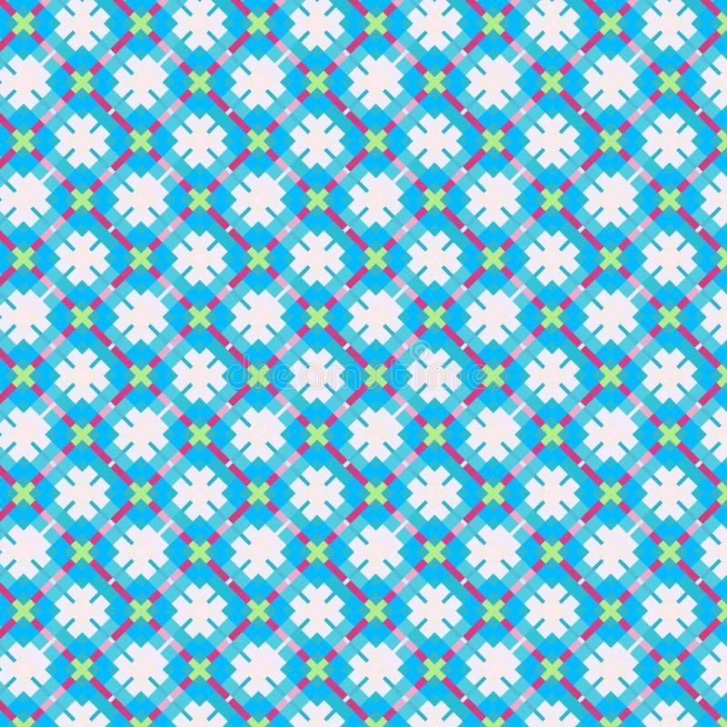 美好的蓝色方格和金刚石无缝的样式 皇族释放例证