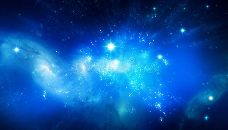 美好的蓝色星系背景 皇族释放例证