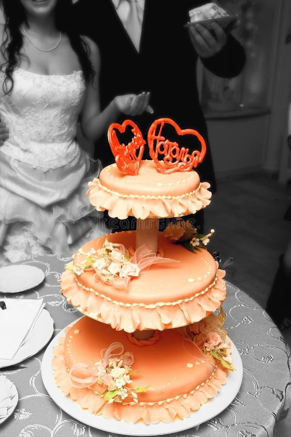 美好的蛋糕婚礼 图库摄影