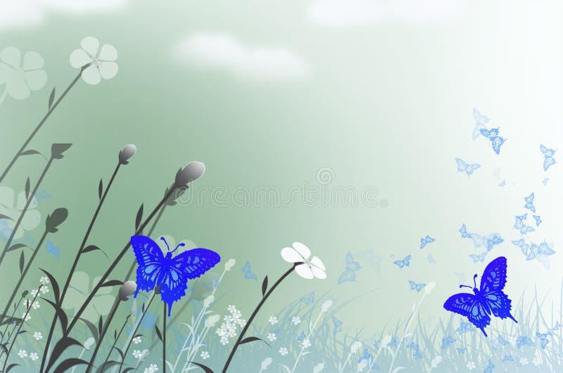 美好的蝴蝶和花田在夏天 皇族释放例证