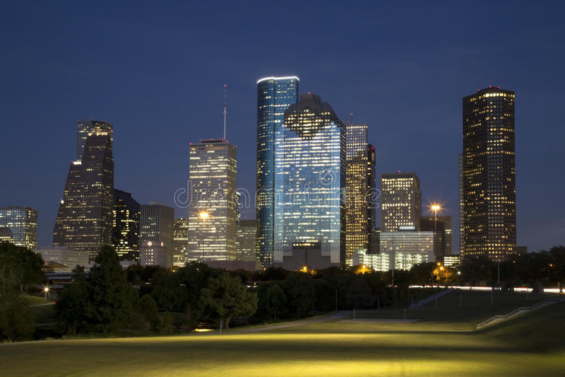 美好的街市休斯敦夜 免版税库存图片