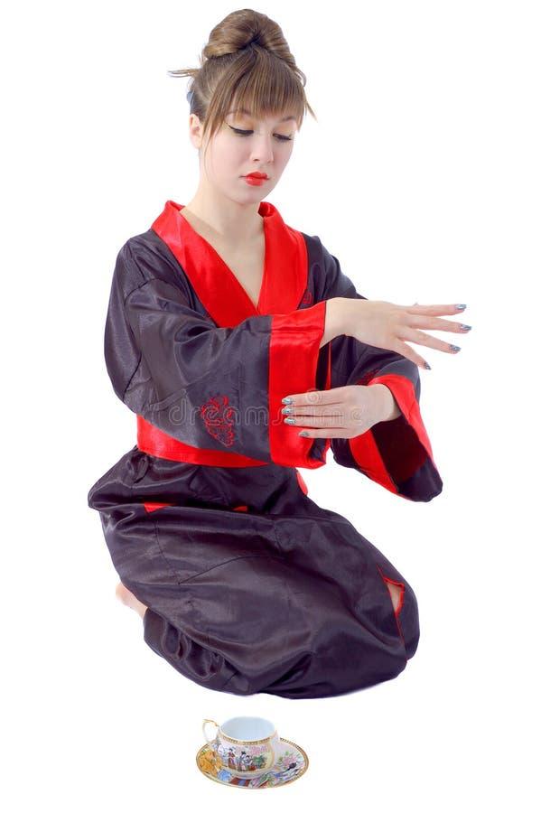 美好的衣裳女孩日本开会 免版税库存照片