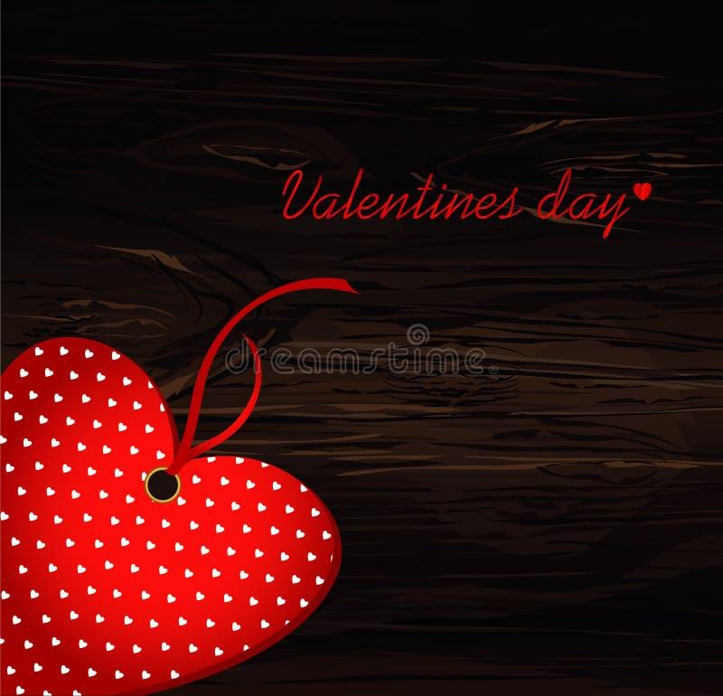 美好的装饰桃红色心脏由与丝带的纸制成 日s华伦泰 2007个看板卡招呼的新年好 在木的传染媒介例证 皇族释放例证