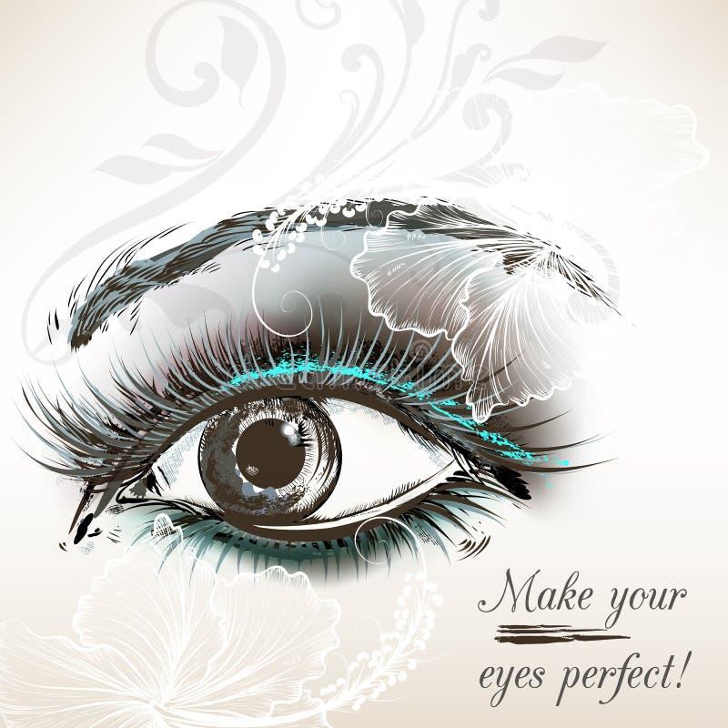 美好的设计的传染媒介手拉的女性眼睛 皇族释放例证