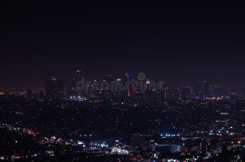 美好的超级广角洛杉矶夜鸟瞰图  库存图片