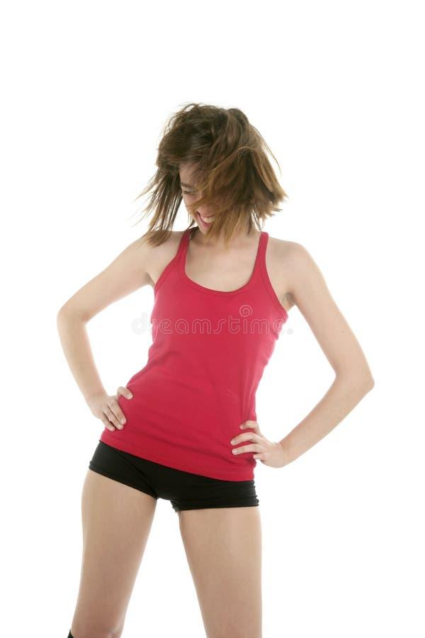 美好的跳舞红色性感的工作室妇女 库存照片