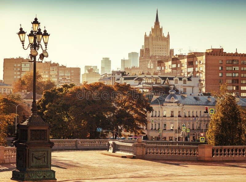 美好的都市风景,俄罗斯,莫斯科,城市cen的首都 免版税库存照片
