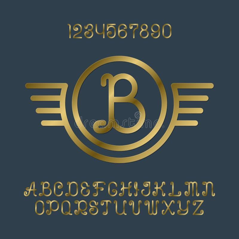 美好的金黄卷曲信件和数字与最初的组合图案在飞过的框架 库存例证