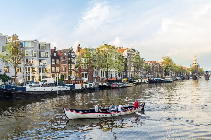 美好的阿姆斯特丹运河场面 免版税图库摄影