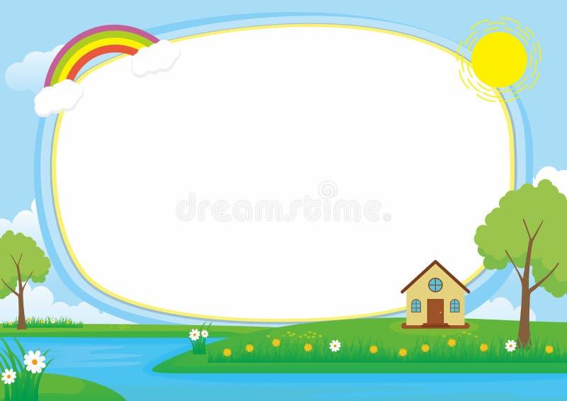 美好的风景传染媒介框架背景与,湖、河、绿色草甸、云彩、树和家 向量例证