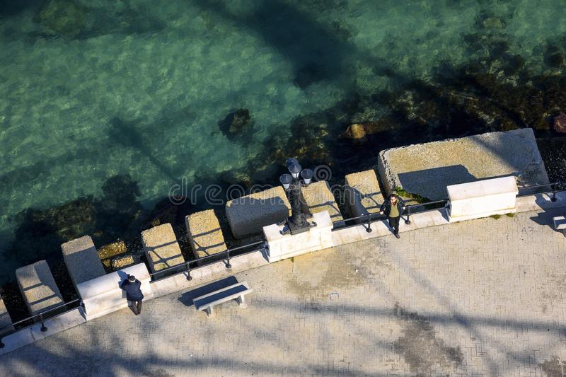 美好的风景和全景有亚得里亚海看法  免版税库存照片