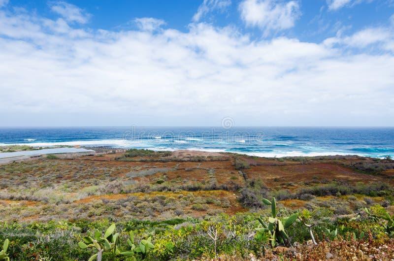 美好的风景有海景 蓬塔台尔Hidalgo,北部的特内里费岛,加那利群岛,西班牙 库存照片