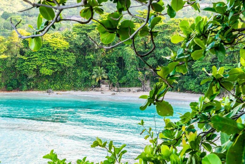 美好的风景热带海岛海滩夏天休假设置 免版税库存照片