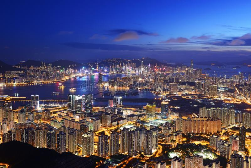 美好的香港夜视图 免版税库存图片
