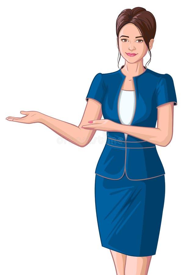 美好的年轻女商人陈列欢迎 库存例证