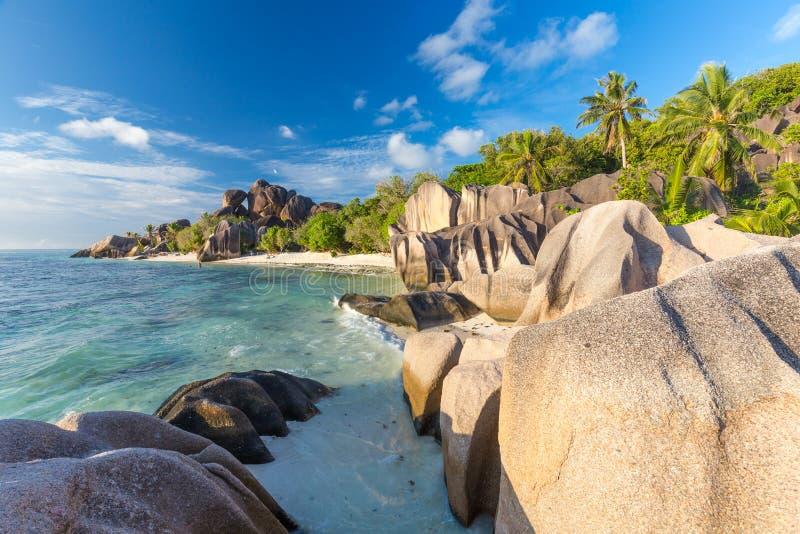 美好的Anse来源d `银热带海滩,拉迪格岛海岛,塞舌尔群岛 库存照片