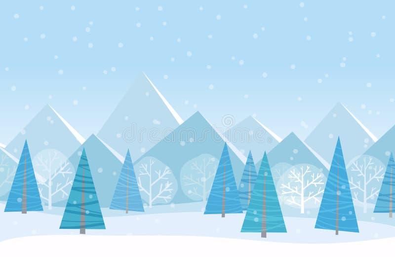 美好的Chrismas冬天平的风景背景 圣诞节有山的森林森林 新年冬天传染媒介 向量例证