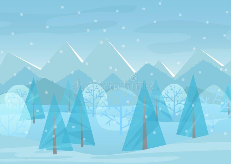 美好的Chrismas冬天平的风景背景 圣诞节有山的森林森林 新年冬天传染媒介 皇族释放例证