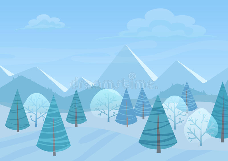 美好的Chrismas冬天平的风景背景 圣诞节有山的森林森林 新年冬天传染媒介 库存例证
