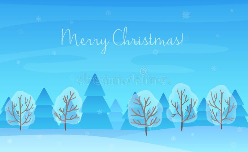 美好的Chrismas冬天风景背景 圣诞节森林森林 新年传染媒介贺卡 库存例证