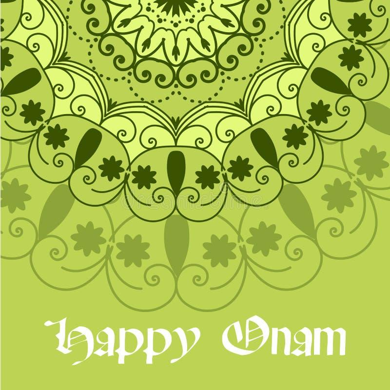 美好的Onam节日摘要坛场设计 一五颜六色的rangoli或pookalam的贺卡、横幅或者海报为 向量例证