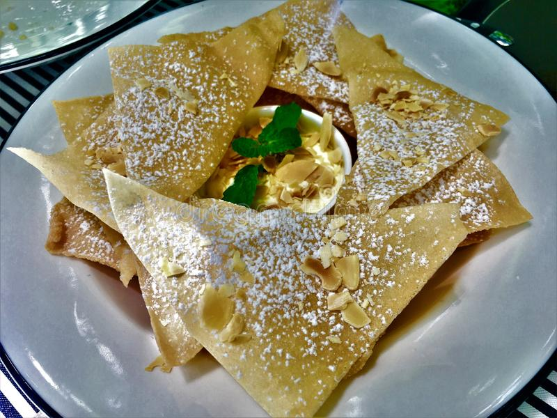 美好的Roti甜食类型点心样式印度食物由面粉制成 免版税库存照片