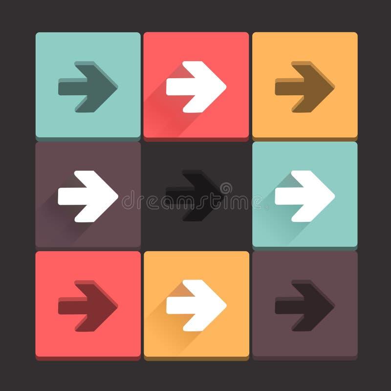 美好,纯净的箭头标志象集合。在黑暗的背景的简单,平的方形的形状互联网按钮。长的阴影和邮票。Contempo 库存例证