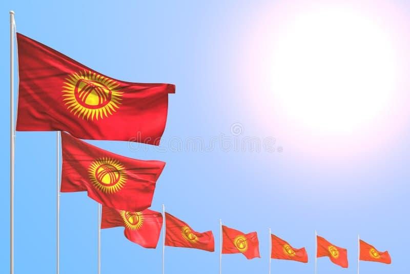 美妙任何场合旗子3d例证-许多吉尔吉斯斯坦旗子在与地方的天空蔚蓝安置了对角您的内容的 皇族释放例证