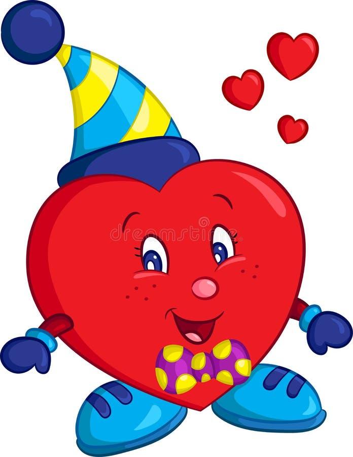 美妙地色的一点红色男孩心脏的彩色插图,为儿童图书或华伦泰卡片完善 库存例证