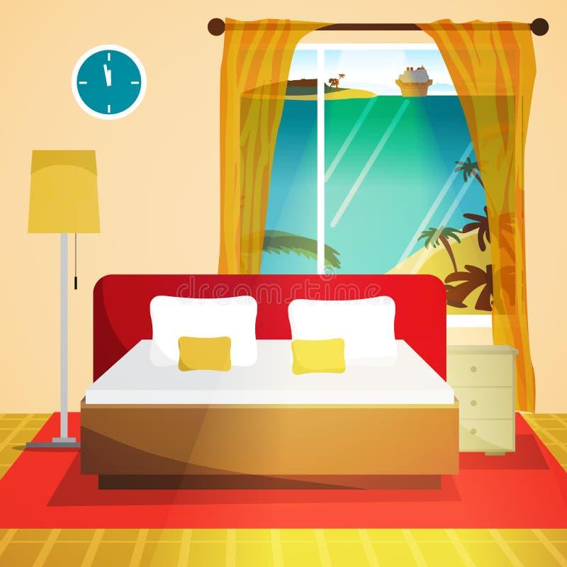 美妙地任命的卧具细致的旅馆内部空间 卧室与床和窗口的房子内部 皇族释放例证