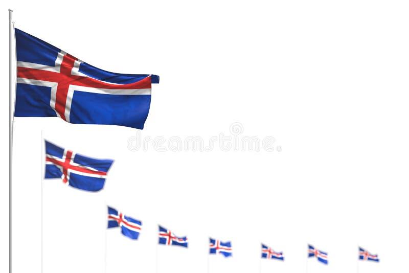 美妙的冰岛隔绝了旗子安置了与选择聚焦的对角,您的内容的-所有宴餐旗子3d例证和空间 皇族释放例证