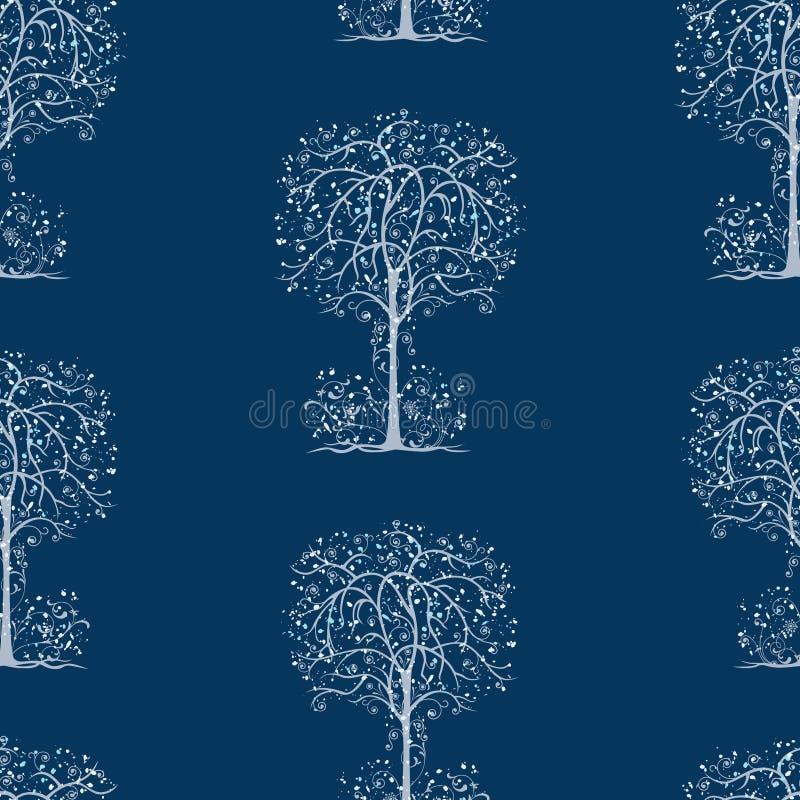 美妙的冻树的无缝的样式 皇族释放例证