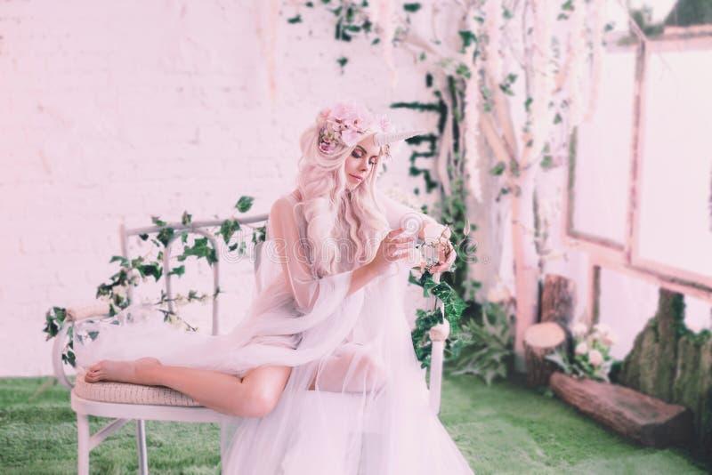 美妙的创作,女孩是在光,白色,有一点透明服装的一只独角兽 背景是一间明亮的屋子 库存图片