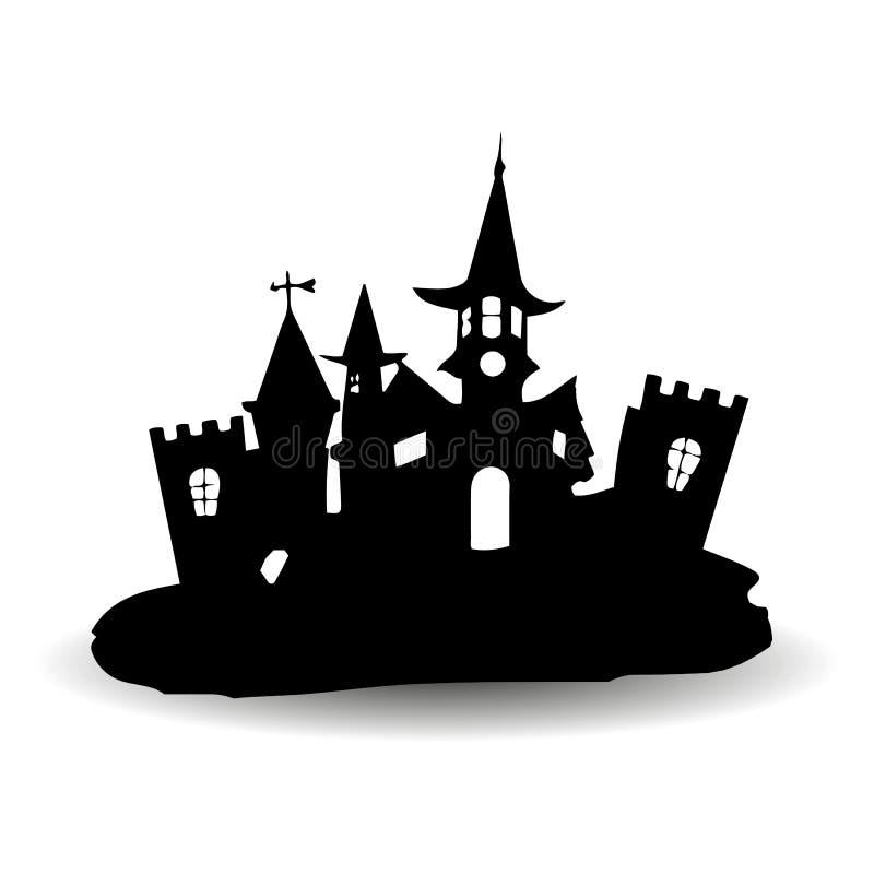 美妙的哥特式城堡,设计为假日万圣夜, sil 向量例证
