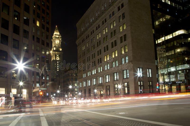 美妙的城市波士顿在晚上 库存照片