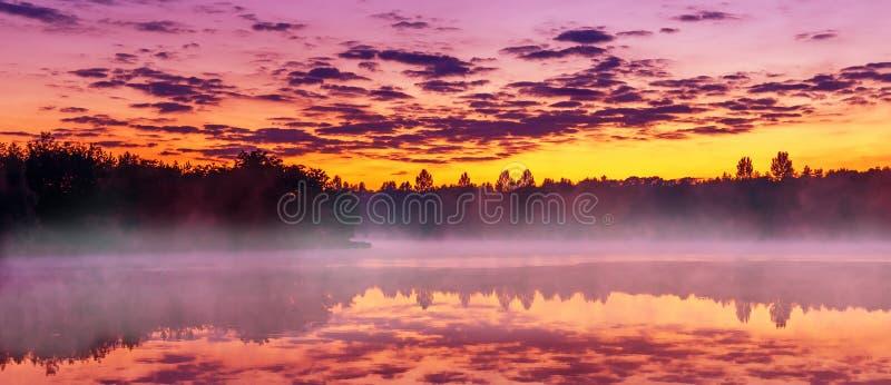 美妙的夏天有雾的风景 在湖的桃红色日出 异常的有薄雾的早晨 严重的场面 五颜六色的有雾的自然风景 免版税库存图片