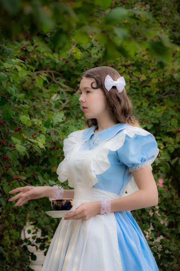 美妙的女英雄的图象的女孩喝茶 库存图片
