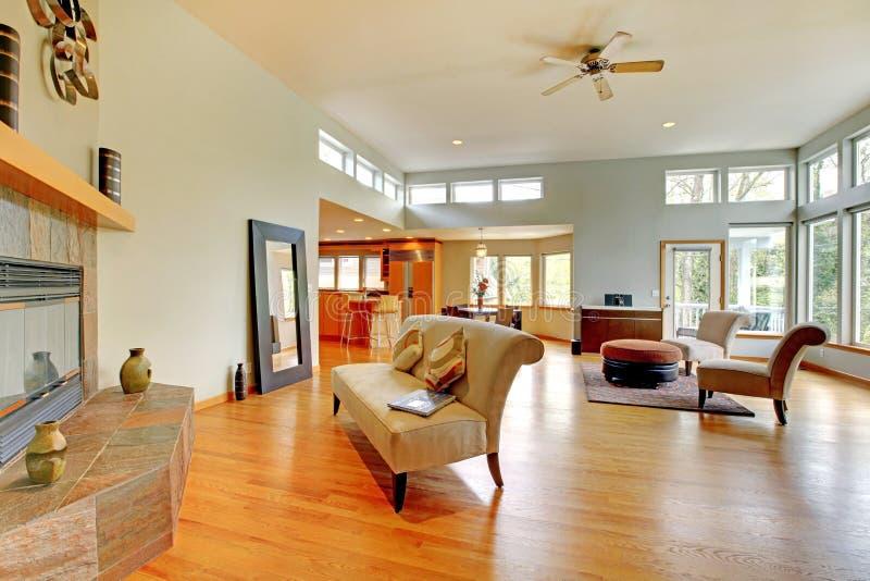 美妙的家庭内部居住的现代空间 免版税库存照片