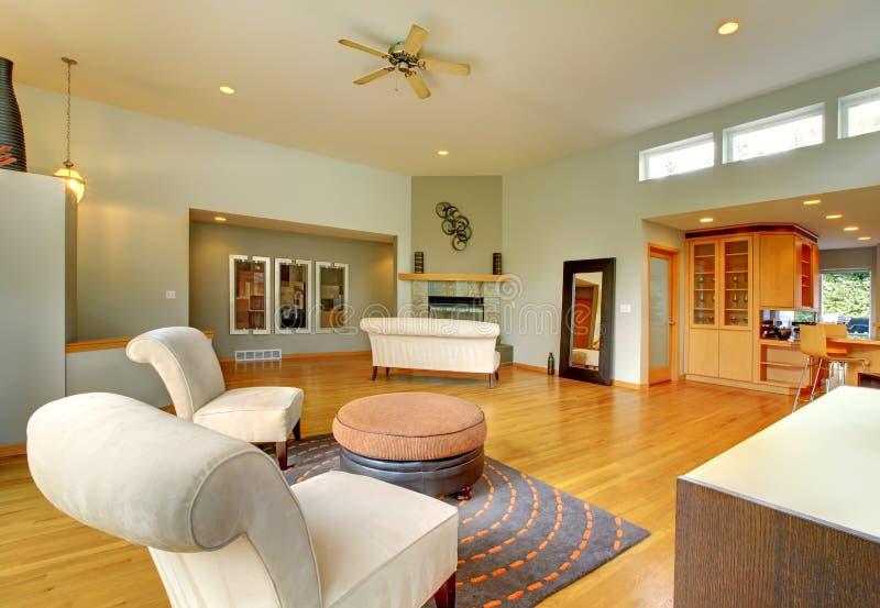 美妙的家庭内部居住的现代空间 免版税图库摄影
