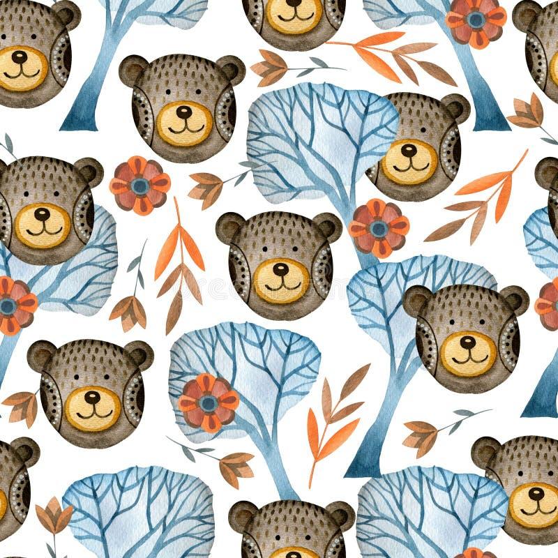 美妙的熊的无缝的水彩样式在森林里 向量例证