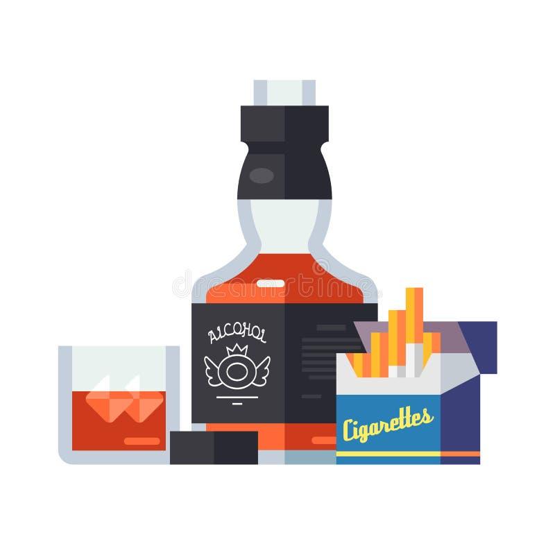 美妙的瓶与冰的威士忌酒玻璃,打开一盒香烟 皇族释放例证
