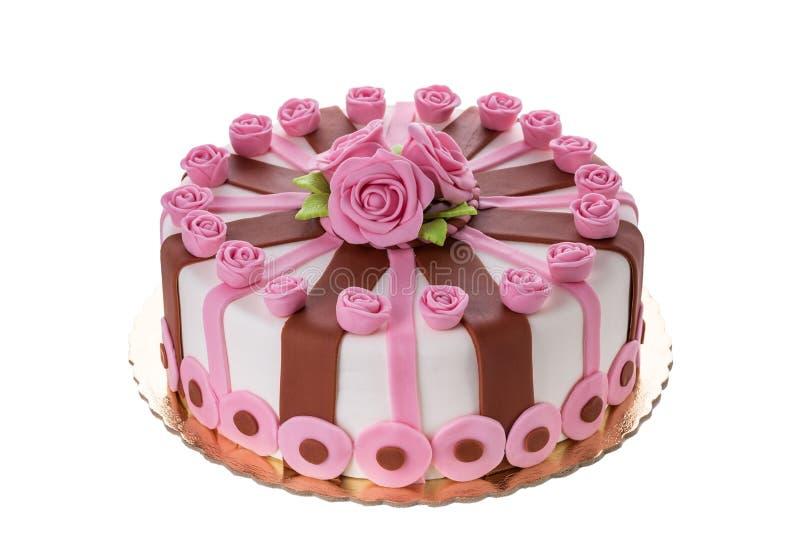 美妙的装饰蛋糕开花玫瑰 免版税库存照片